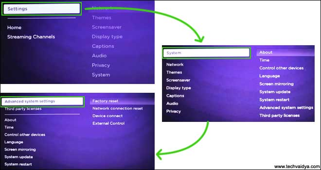 Roku Advance System settings