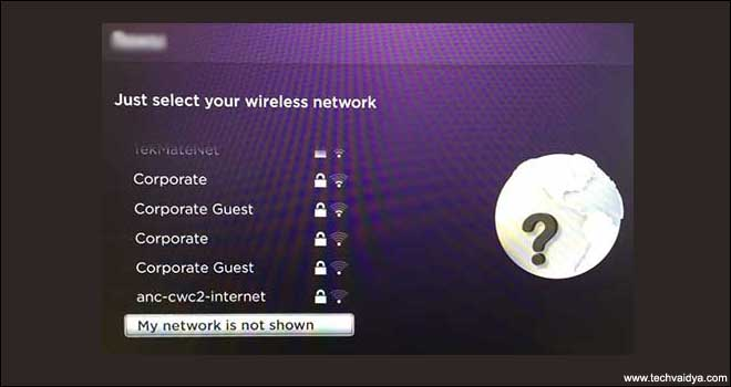select wireless Network on Roku