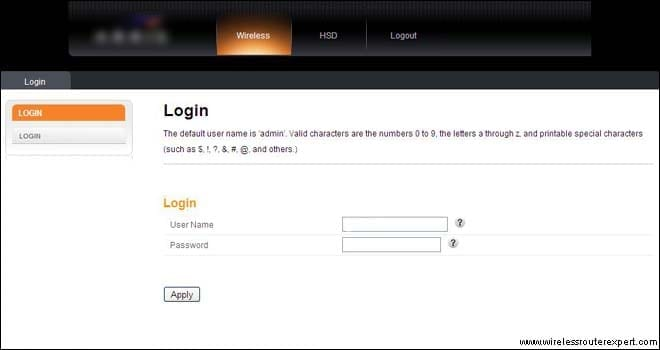 login page of arris