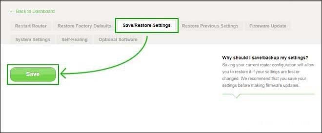 Save settings belkin router