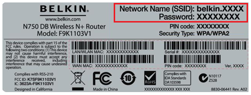 Network name and password