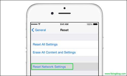 Reset network setting in iphone