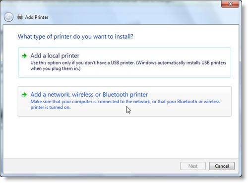 window 7 print setup