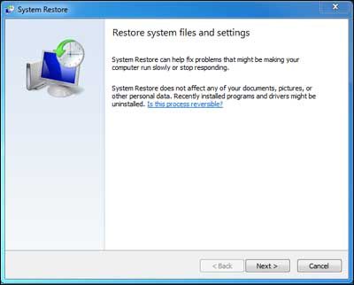System restore and reset files