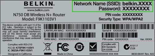 Belkin Username and password at backside