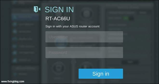 Asus Router Login page