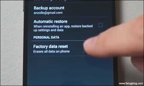 Factory reset in phone