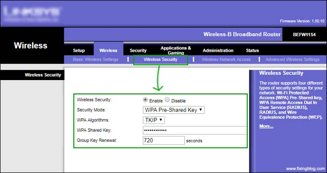 password setup linksys router