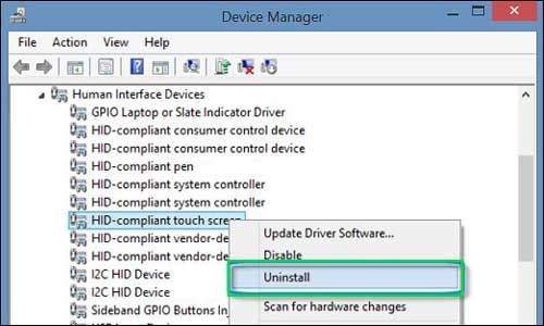 unistall hid touchscreen driver